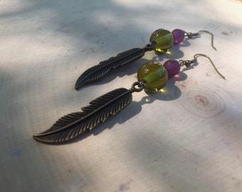 Purple & green feather earrings