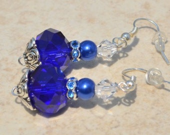 Blue Cobalt Faceted Rondelle Crystal and pearl and rhinestone earrings