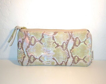Holographic Leather Clutch Handbag - silver holographic snakeskin print cowhide leather purse - handmade by Arcticmoda