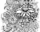 Adult Colouring Page Print Your Own Digital Download, Oriental Floral Design, Art Print, Printable Art, Make Your Own Poster, Jpeg, PDF