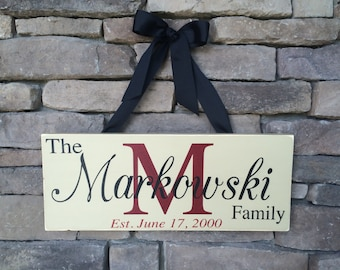 Personalized Wooden Last Name Family Sign, Engagement, Wedding, Anniversary Gift