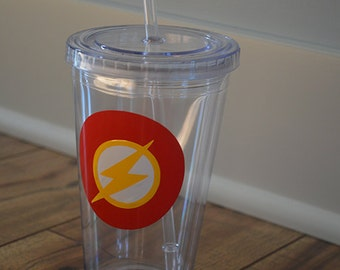 Personalized Flash Gordon Acrylic Tumbler- superhero cup with straw