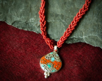 Jewelry for Bema Red Coral and Turquoise Teardrop Pendant Necklace