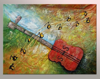 Abstract Art, Wall Painting, Oil Painting, Original Painting, Guitar Music Painting, Canvas Painting, Large Painting, Abstract Painting