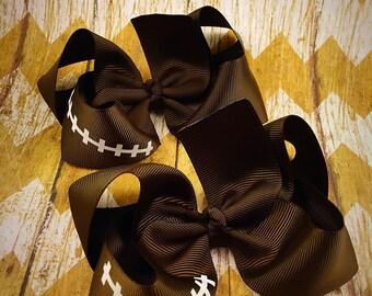 Football hair bows, fall hair bows, boutique hair bows, piggy set hair bows
