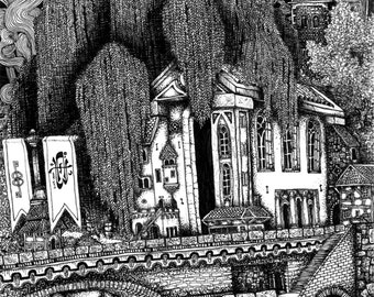 """River Temple; 6x9"""" pen and ink signed illustration PRINT, bridge over a river with a grand temple, banners, and buildings with a boat below"""