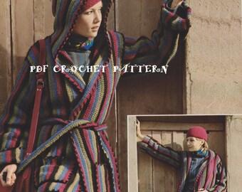 Ladies' Hooded Jacket, Vintage 1980s, Instant Download, Crochet PDF Pattern