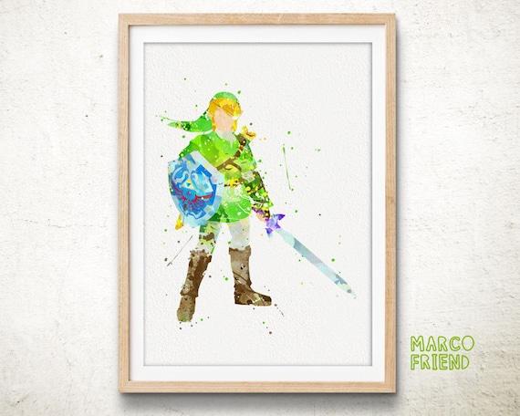 Zelda Wall Decoration : Zelda link watercolor art print home wall decor by marcofriend