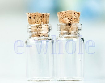 Wholesale 50pcs 1ML 11X22mm Empty Clear Bottles Glass Vials With Cork Cap HB1063X50
