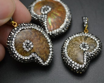 1pc Unique Natural Ammolite Fosil Mineral Stone Pendant With Crystal beads paved DIY Jewelry making supplies for Designers