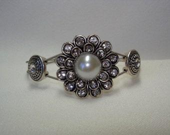Guitar String Bracelet With Silver Rhinestone Pearl Flower Slider