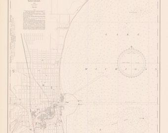 Lake Michigan - Racine Harbor Map 1939
