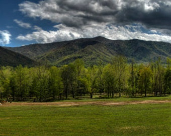 Smokey Mountains National Park, Cades Cove Tennessee, Panorama, Horses, Barn, Trees, Mountains, Grass, Clouds, Farm