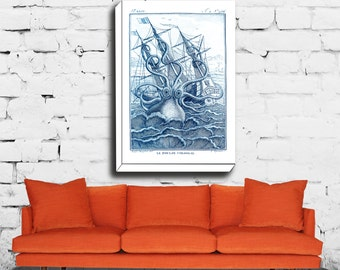 Octopus Canvas, Octopus Wall Canvas, Kraken Illustration, Beach House Art, Nautical Decor, Squid Picture,Giclee Print, Octopus Poster