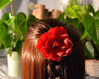 Flower hair piece, flower hair clip, flower hair accessories, red hair flower, rose hair clip, silk flower hair clip, rose hair piece, red