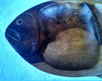 Vintage African Hand-Carved Olivewood Divided Serving Dish - Fish-Shaped