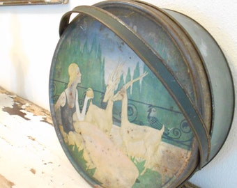 1920's Art Deco Biscuit Tin Woman and Gazelle