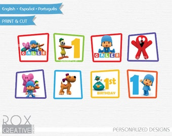Pocoyo Birthday Cupcake Toppers, Pocoyo Favor Tags, Napkin Rings, Digital – Customized