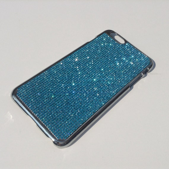 iPhone 6 Plus / iPhone 6s Plus Aquamarine Blue Crystal Chrome Case iPhone 6 Plus Bling Cover, Velvet/Silk Pouch Bag Included.