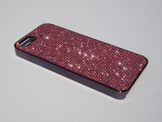iPhone 5 / 5s / 5se Pink Diamond Rhinestone Crystals on Black Chrome case. Velvet/Silk Pouch Bag Included, Genuine Rangsee Crystal Cases.