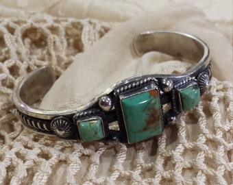 Sterling silver turquoise Navajo artist signed cuff