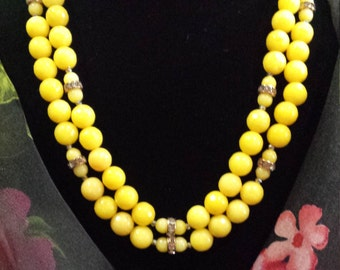 Two strand yellow faceted jade necklace