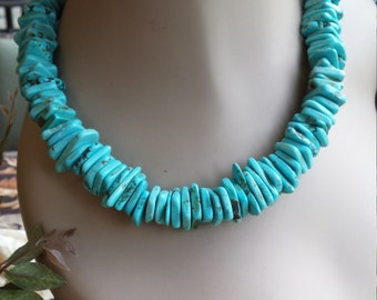 Turquoise necklace flat beaded