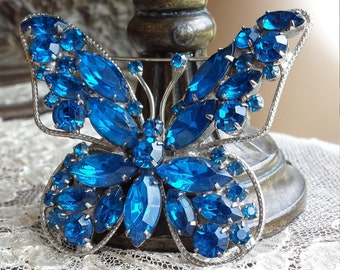 Vintage blue crystal butterfly brooch