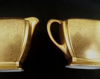 Vintage Pickard Embossed Gold on Porcelain China Creamer & Sugar Set Roses and Quatrefoil  Daisies Pattern