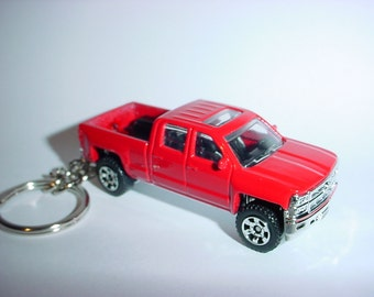 3D 2014 Chevrolet Silverado 1500 truck custom keychain by Brian Thornton keyring key chain finished in stock red color trim cab pick up
