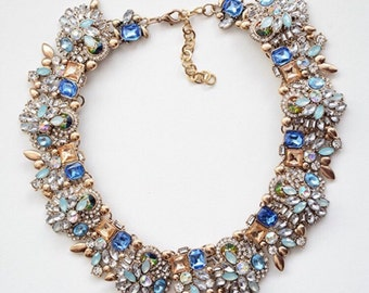 Azure Crystal Statement Necklace