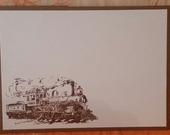 Train Engine Locomotive Masculine 4 Piece Note Card Set with Envelope Chocolate Brown Mens Boys Manly