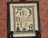 ALL HALLOW'S MINI Digital Halloween Pattern for Counted Cross Stitch; Instant Pdf Download; Bats, Moon, Black Cat in a Graveyard