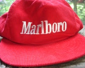 Vintage 80s Marlboro Cigarettes Red Corduroy Sports Cap with Box and Marlboro Sports Gear Brochure
