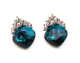 Fashion blue Crystal Silver Earrings