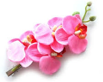 40s 50s orchid waterfall pink hair flower