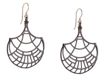 Geometric Earrings - Geometric Pattern Earrings - Charcoal Gray Earrings - Papyrus - Handmade Jewelry