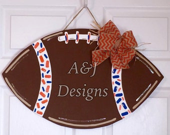 Door Hanger - Wood Cut Out - Football. This adorable Football can be changed to better meet your style!