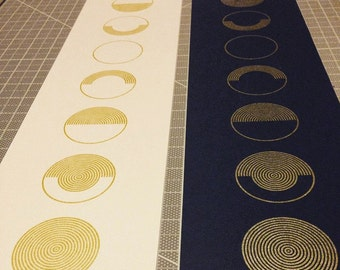 Moon Phases Print // Phases of the Moon // Gold Metallic // 5 x 25 Screen Print