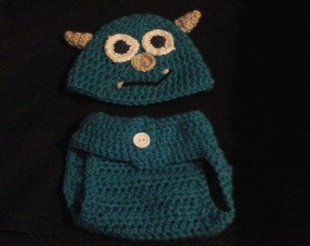 Monster hat and diaper cover