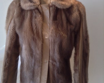 Mink and leather Box Jacket