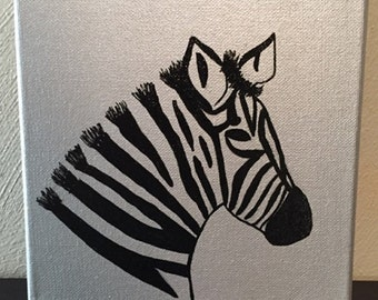 Zebra Metallic Canvas 8x8