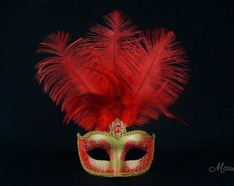 Red Masquerade Mask, Red Venetian Mask, Gold Masquerade Mask, Mask with Feathers for Masquerade Ball, Weddings, Prom Mardi Gras, Hora Loca