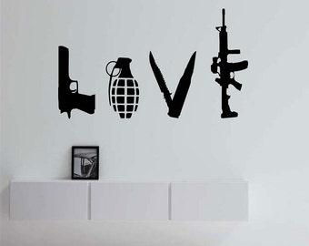 wall decal family art bedroom decor love weapons vinyl wall decal sticker art decor bedroom design mural