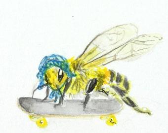 Original painting bee on a skateboard Insect wall art, bee art, bee illustration amusing animal art wildlife art bee drawing skateboard art