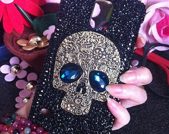 Charms Punk Metal Bronze Skull Bling New Lovely Fashion Sparkle Jewelled Crystals Rhinestones Diamonds Gems Hard Cover Case for Mobile Phone