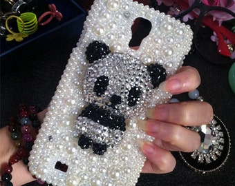 Stylish Luxury Bling Pearls Sparkles Charms 3D New Panda Gems Crystals Rhinestones Diamonds Fashion Lovely Hard Cover Case for Mobile Phone