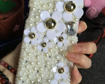 New Bling Sparkly Cute Girly White Daisy Floral Gems Crystals Rhinestones Diamonds Fashion Lovely Hard Cover Case for Various Mobile Phones