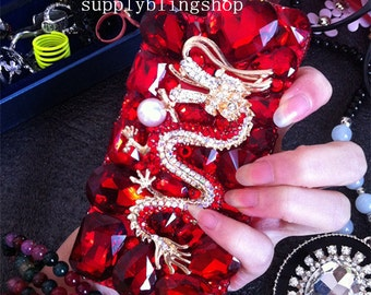 Bling Luxury Red Dragon Lovely Fashion Sparkles Glossy Unique Jewelled Crystals Rhinestones Diamonds Gems Hard Cover Case for Mobile Phone