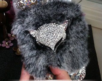 Flip Fluffy Fur Furry Fox Slot Cards Holder Wallet Leather Bling Luxury Lovely Crystals Rhinestones Diamond Hard Cover Case for Mobile Phone